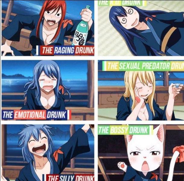 Ces filles boivent (sans doute un peu trop) pour l'arrestation de Grey. Dans quel état se retrouve Lucy après avoir trop bu ?