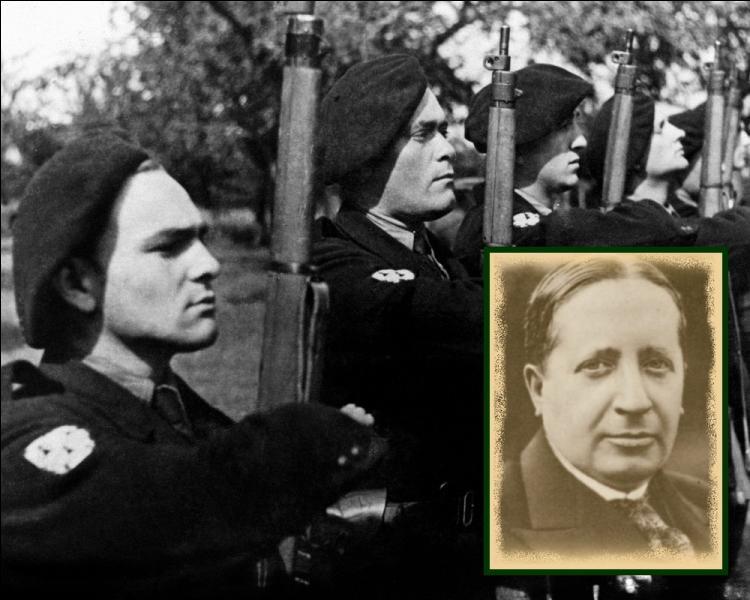 Il est abattu de seize balles, le 7 juillet en forêt de Fontainebleau par la milice, en représailles de l'exécution du ministre de la propagande; Philippe Henriot...