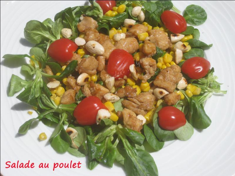 Quels fruits surmontent cette salade au poulet ?