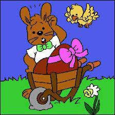 Selon la tradition, que fait le lapin de Pâques la veille ?
