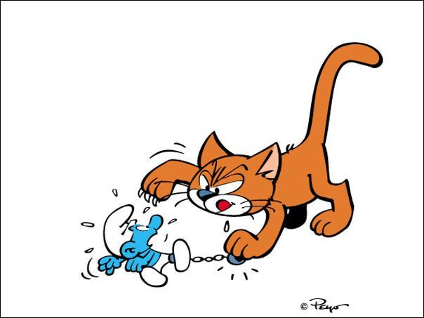 Voici un chat que vous avez dû rencontrer au détour de vos lectures de la BD des Schtroumpfs. Connaissez-vous son nom ?