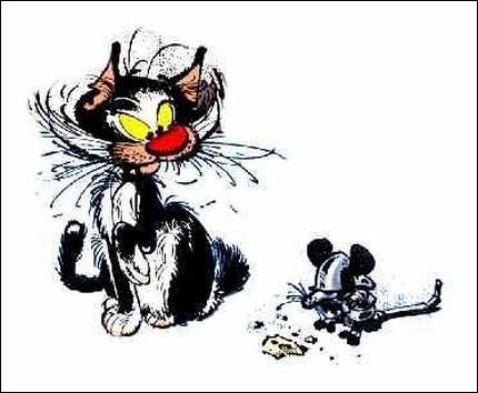 Ce chat est également celui de Gaston Lagaffe, ardent défenseur de la Nature (quoique pas toujours lorsque ses inventions finissent par polluer tout l'environnement, lol). A quel doux surnom répond-il ou pas ?