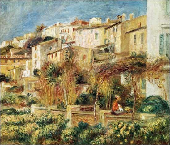 Quel grand peintre impressionniste, né à Limoges, auteur du déjeuner des canotiers, vécut longtemps à Cagnes, ici représentée sur une de ses toiles ?