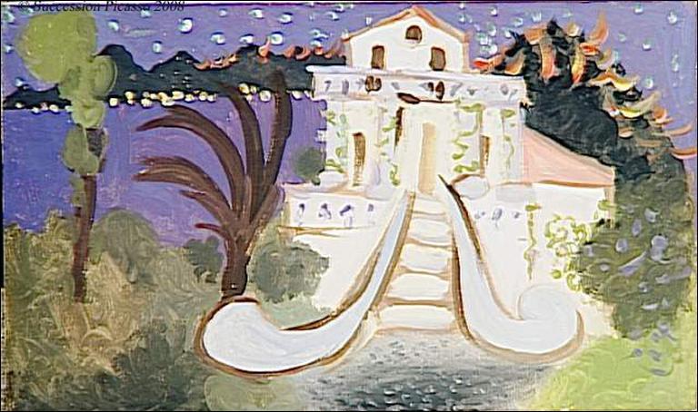 """Voici """"La villa chêne Roc"""" de Pablo Picasso, elle se trouve dans une ville située sur la commune d'Antibes, bien connue pour son festival de jazz :"""