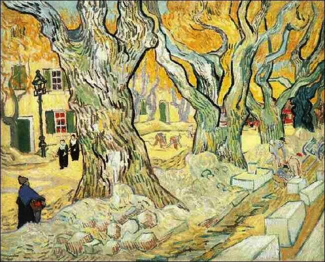 """Cette toile représente """"Les alyscamps ou les paveurs de Saint-Rémy de Provence"""", quel artiste a réalisé de nombreuses toiles de cette petite ville où il était interné à l'asile et soigné par le Docteur Gachet"""" ?"""