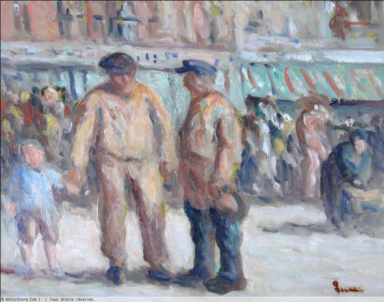 """Qui a peint """"La criée aux poissons"""" marché de Honfleur ?"""