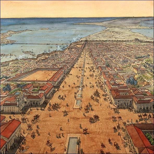 Quelle est l'avenue principale de l'Alexandrie antique ?