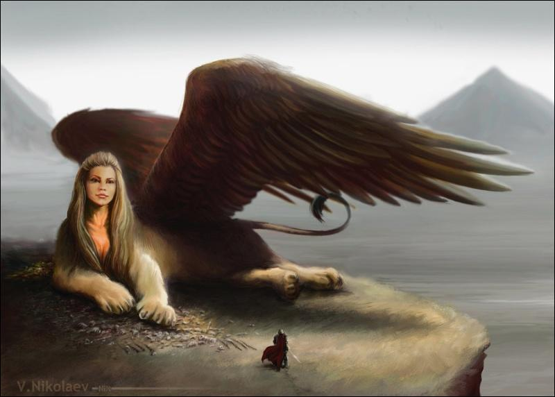 Qui suis-je ?J'ai des ailes, une tête d'humain et un corps de lion.