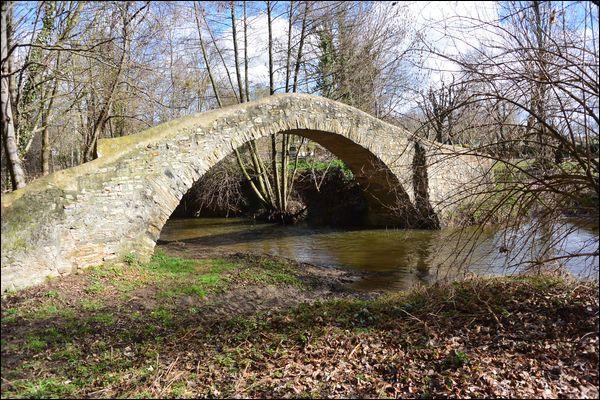 """Ce pont dit ''romain"""", piétonnier avec une seule arche, date en fait du XVe siècle, il traverse la Morge dans le Puy-de-Dôme à :"""