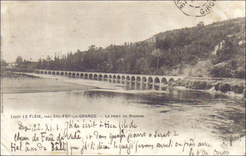 Le pont du Mignon est un pont-route, qui a été construit en 1860 en Dordogne, il a une longueur de 360 m, sur 30 arches, les crues de 1912 et surtout celles de 1949 l'ont endommagé sérieusement, il est fermé à la circulation et est situé au/à :