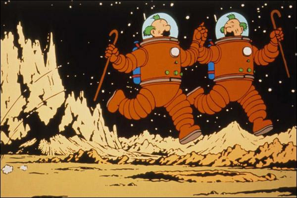 """""""On a marché sur la lune"""" est le 17e album des aventures de Tintin. De quelle couleur est la fusée qui transportera nos héros pour ce beau voyage ?"""