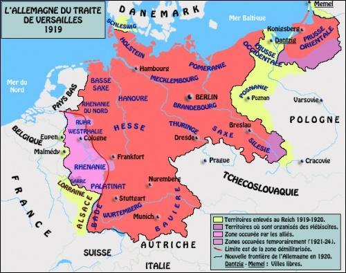 Histoire - Quel territoire donné à la Pologne lors du Traité de Versailles en 1919 était revendiqué par l'Allemagne du IIIe Reich ?