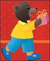 De quelle couleur est le pull de Petit Ours brun ?