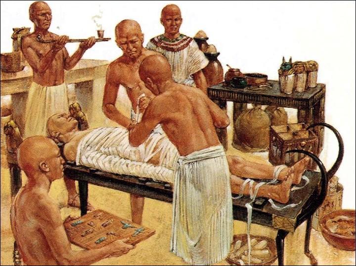 Que représentait l'amulette couverte de symboles qu'avaient, implantée dans la poitrine, certaines momies égyptiennes ?