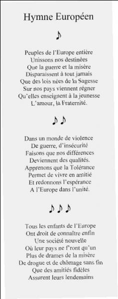 Et pour finir, comment s'appelle l'hymne de l'Europe ?
