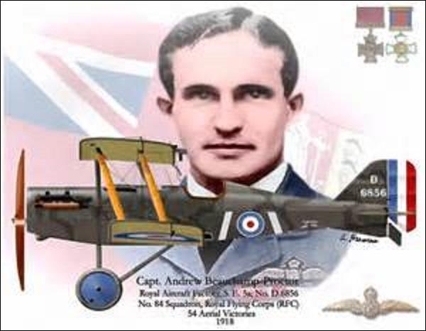 """Je vois le jour en septembre 1894 à Mossel Bay (Afrique du Sud). Plus grand pilote de mon pays, je totalise à mon actif 54 victoires, qui me vaut de recevoir la """"Victoria Cross"""" (plus grande distinction militaire anglaise). Je décède le 21 juin 1921 lors d'un entraînement en vue d'un meeting aérien. Je m'appelle :"""