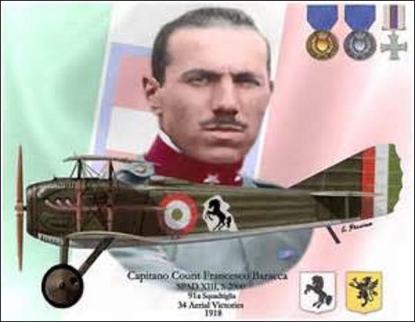Pilote italien né à Lugo en mai 1888, je compte à mon actif 34 victoires. Plus grand as de mon pays, mon avion (un Spad S.XIII) , était reconnaissable par l'emblème d'un cheval noir cabré qui se situait sur la carlingue et qui sera après guerre repris par Ferrari en mon honneur. Je décède abattu par les Autrichiens le 19 juin 1918 au-dessus de Trévise, je me nomme :