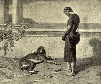 Quel est le nom de son chien qui le reconnaîtra et mourra après de très longues années d'attente ?