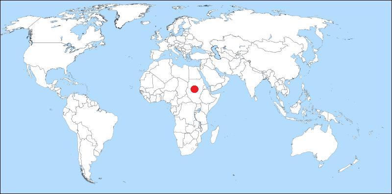 Sur l'image, vous pouvez voir la carte du monde. Dans quel pays se trouve le point rouge ? (agrandissez l'image)