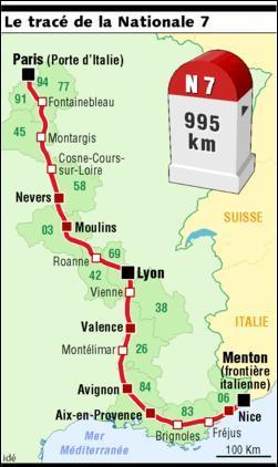 Quelle ville ne se trouve pas sur le parcours de l'ancienne nationale 7, entre Paris et Lyon ?