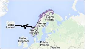 """Complétez : """"Des Vikings, partis de Norvège, sont allés en Islande en empruntant le chemin le plus court. Ils ont donc navigué sur l'océan ....."""""""