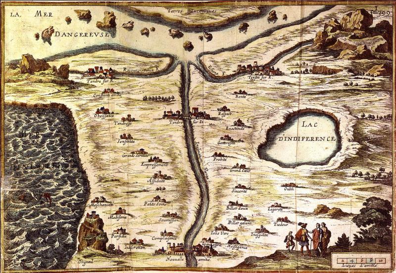 La carte de Tendre, représentation imaginaire de la conduite et de la pratique amoureuse au 17e siècle, est caractéristique d'un mouvement littéraire et intellectuel de cette époque, dont s'est moqué Molière dans une de ses pièces. Il s'agit de :