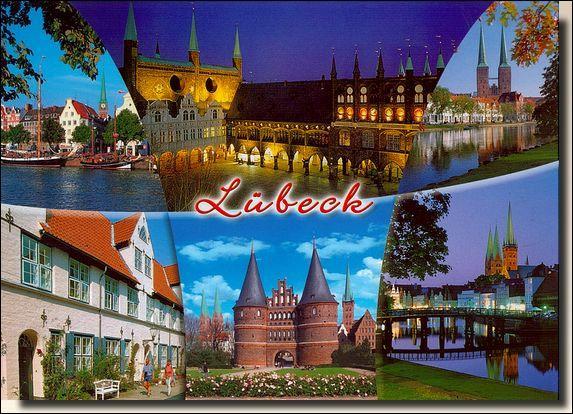 Voici une jolie carte postale de Lübeck, port de la mer Baltique, qui se trouve...