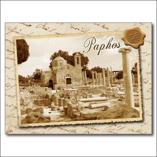 Découvrez cette église de Paphos située sur une île méditerranéenne. La silhouette de l'île et deux rameaux d'olivier qui se croisent sont dessinés sur le drapeau blanc de ce pays. Lequel ?