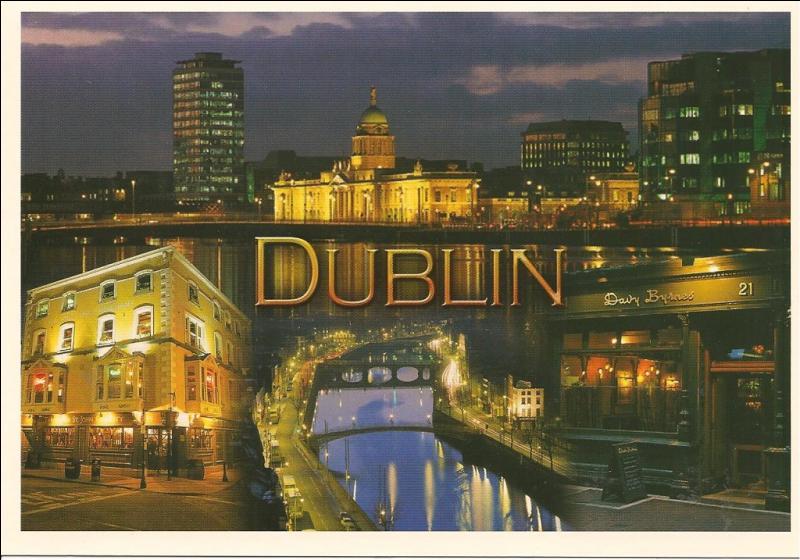 Magnifique vue de la ville de Dublin illuminée ! De quel pays est-elle la capitale ?