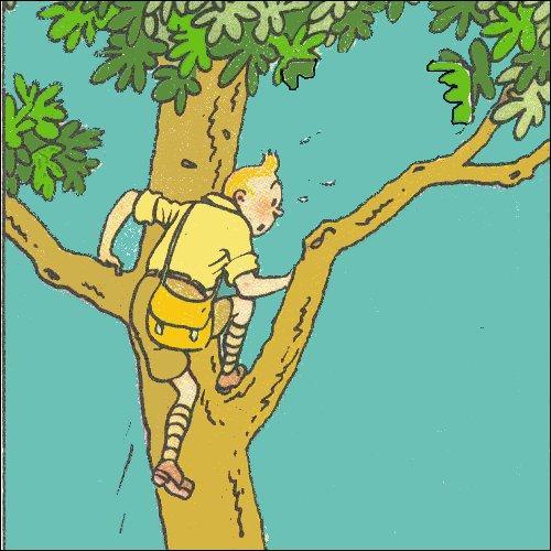 À quel animal sauvage Tintin veut-il échapper ainsi ?