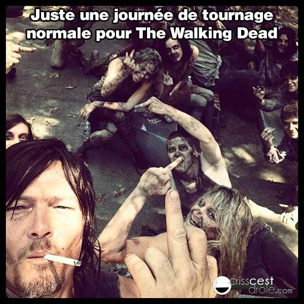 "Que se passe-t-il banalement au tournage de ""The Walking Dead"" ?"