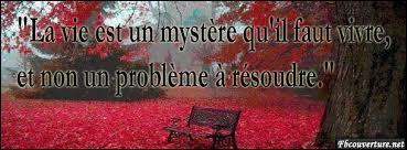 """Qui a dit """"La vie est un mystère qu'il faut vivre, et non un problème à résoudre."""" :"""