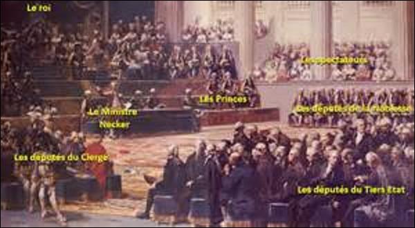 Mai : Le 24 janvier 1789, devant le marasme financier et la dégradation du pays, le roi Louis XVI décide de convoquer les États généraux (sorte de Chambre des députés composées de 3 ordres : clergé, noblesse et tiers état). Ces derniers s'ouvrent à Versailles dans un climat tendu. Mais à quelle date ?