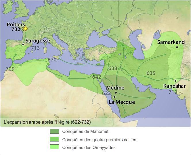 Maintenant les repères de 5e.Quand l'hégire (début de l'ère musulmane) a-t-elle eu lieu ?
