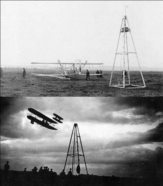 Revenons au premier vol des frères Wright. Ce vol a une particularité qui le démarque de la majorité des avions futurs. Elle est due aux limitations technologiques de l'époque.Quelle est cette particularité ?