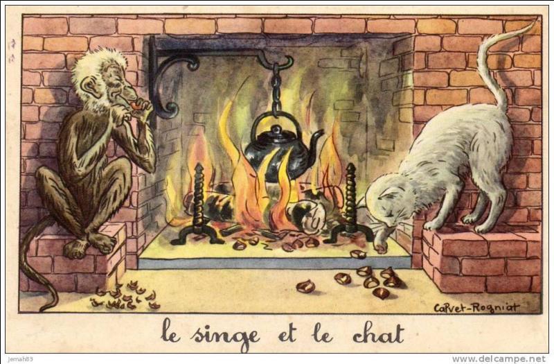 """Dans la fable de La Fontaine """"Le singe et le chat"""", comment se nommait le chat ?"""