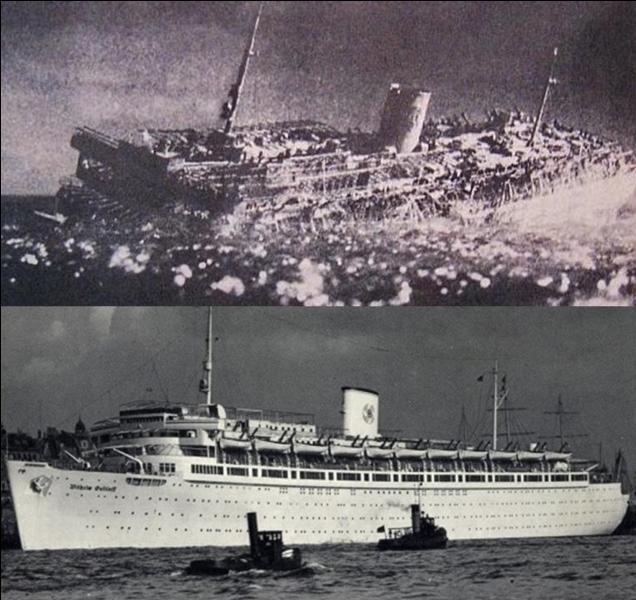 Ce navire a été un navire de croisière. Pour son dernier voyage, il semble qu'il transportait 10 500 personnes, il était prévu pour accueillir 1500 personnes maximum. Son naufrage provoquera une des pires, voir la pire catastrophe maritime de l'histoire.Quel est ce navire ?