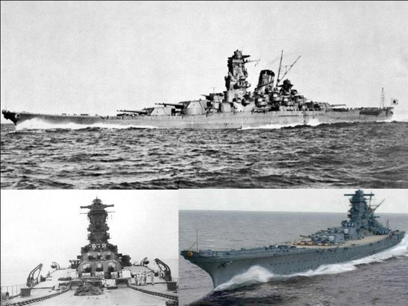 Avec mon « sister-ship », je suis le plus grand cuirassé au monde. Egalement, j'ai été équipée des plus gros canons qu'un navire pouvait recevoir (460 mm). Ma dernière mission était une mission suicidaire. Je fus coulé par l'attaque de l'aéronavale US.Quel est ce cuirassé ?