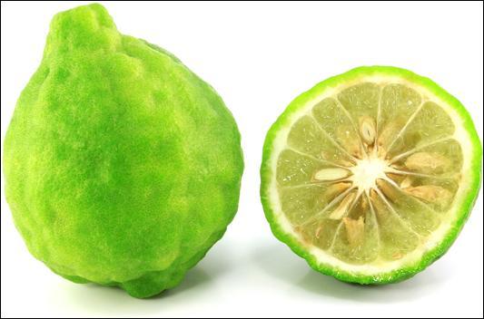 Récolté principalement pour l'huile contenue dans son écorce, quel est ce fruit ressemblant à une orange à chair verdâtre ?