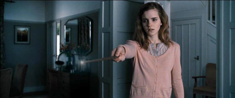 Un combat s'engage alors. Harry Potter prévient Hermione Granger que Lord Voldemort va arriver d'une minute à l'autre. Avant de transplaner et de revenir où ils campaient, quelle formule magique Hermione Granger lance-t-elle ?