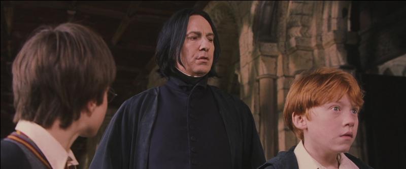"""""""Bonjour. Qu'est-ce que trois élèves de Gryffondor font à l'intérieur du château par un temps si radieux ?""""""""Et bien ... nous ... enfin, nous ...""""""""Faites attention. On pourrait penser que ... vous préparez un mauvais coup."""""""