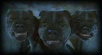 Qu'est-ce qu'il y a dessous la trappe que garde le chien à trois têtes ?