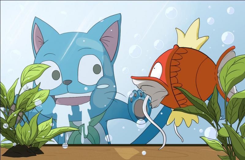 Il est un Exceed de couleur bleue qui ne quitte jamais Natsu et adore le poisson. Bien qu'il l'ignore, il est le fils de Lucky et de Mâr. Qui est-ce ?