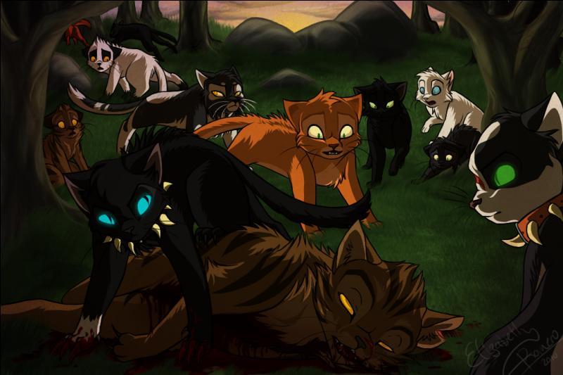 Beaucoup plus tard, Etoile du Tigre et Flèche Grise viennent à sa rencontre lui proposer un marché : si Fléau tue Etoile de Feu, il aura une grande partie du territoire des Clans.Fléau accepta. Etoile du Tigre ordonne d'attaquer, mais Fléau refuse en déclarant que c'était lui le chef.Furieux, le chef se jette sur lui. Comment Fléau le tuera-t-il ?