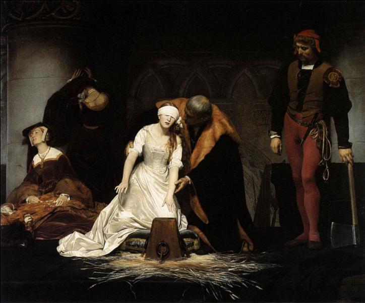 """Voici """"Le supplice de Jane Grey"""" représenté par Delaroche. Jane Grey fut Reine d'Angleterre en 1554, sur l'ordre de qui fut-elle décapitée ?"""