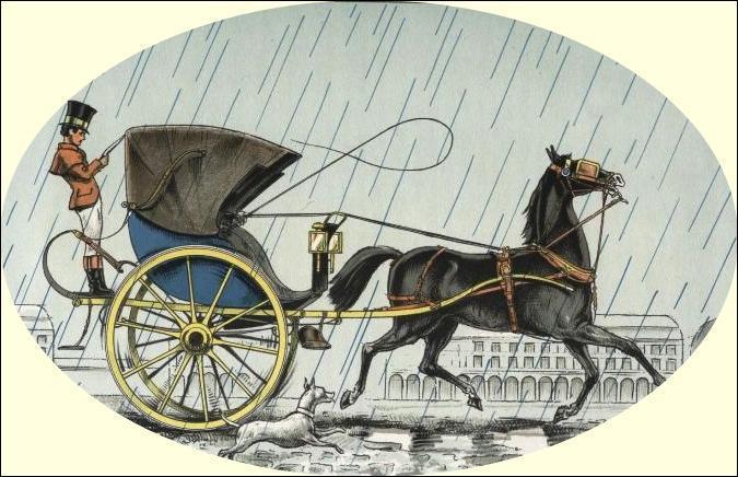 Voiture hippomobile légère montée sur deux roues et munie d'une capote en cuir qui peut se rabattre :
