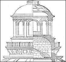 Elle donne du jour à un escalier, elle est également posée sur un dôme plus grand qu'elle-même.