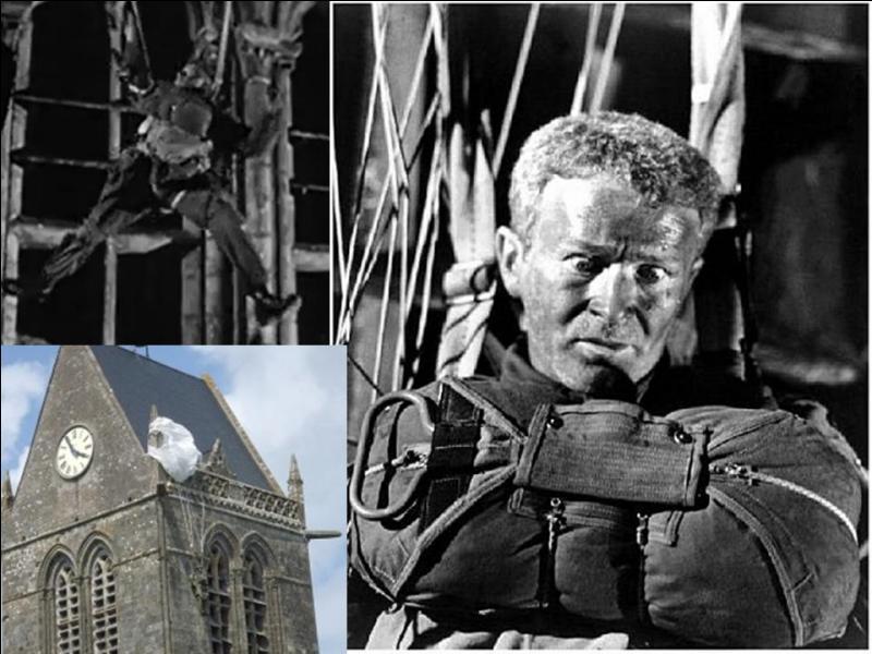 La scène où le parachutiste John Steele, resté pendu au clocher de l'église de Sainte-Mère-Église est erronée.Pour quelle raison est-elle fausse ?