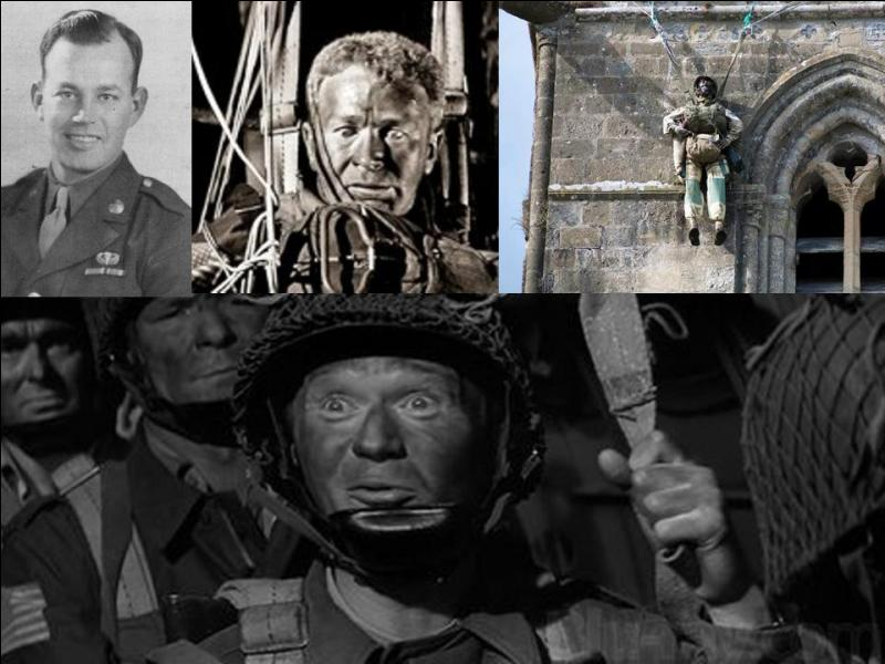 Continuons avec John Steele, ce parachutiste qui est resté accroché au clocher de l'église. Dans le film, il dit qu'il est resté 10 heures accroché au clocher avec les cloches qui l'ont rendu sourd ! Qu'est-ce qui ne va pas dans cette histoire ?