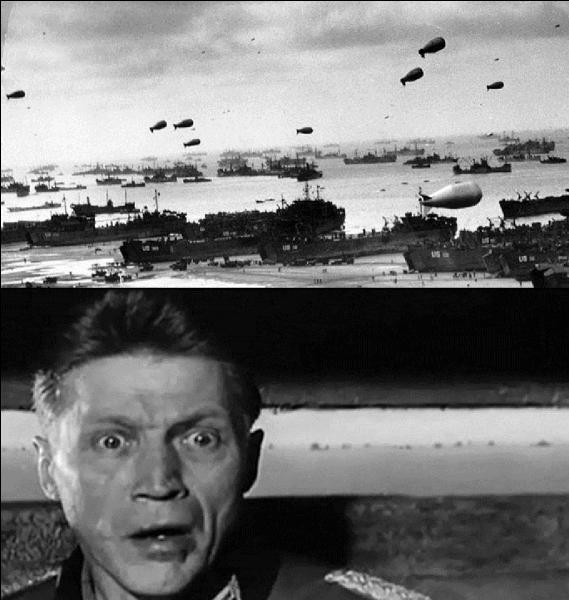 Dans le film, une erreur importante est commise lorsque l'on voit la flotte des navires en route pour la Normandie.Quelle est cette erreur ?